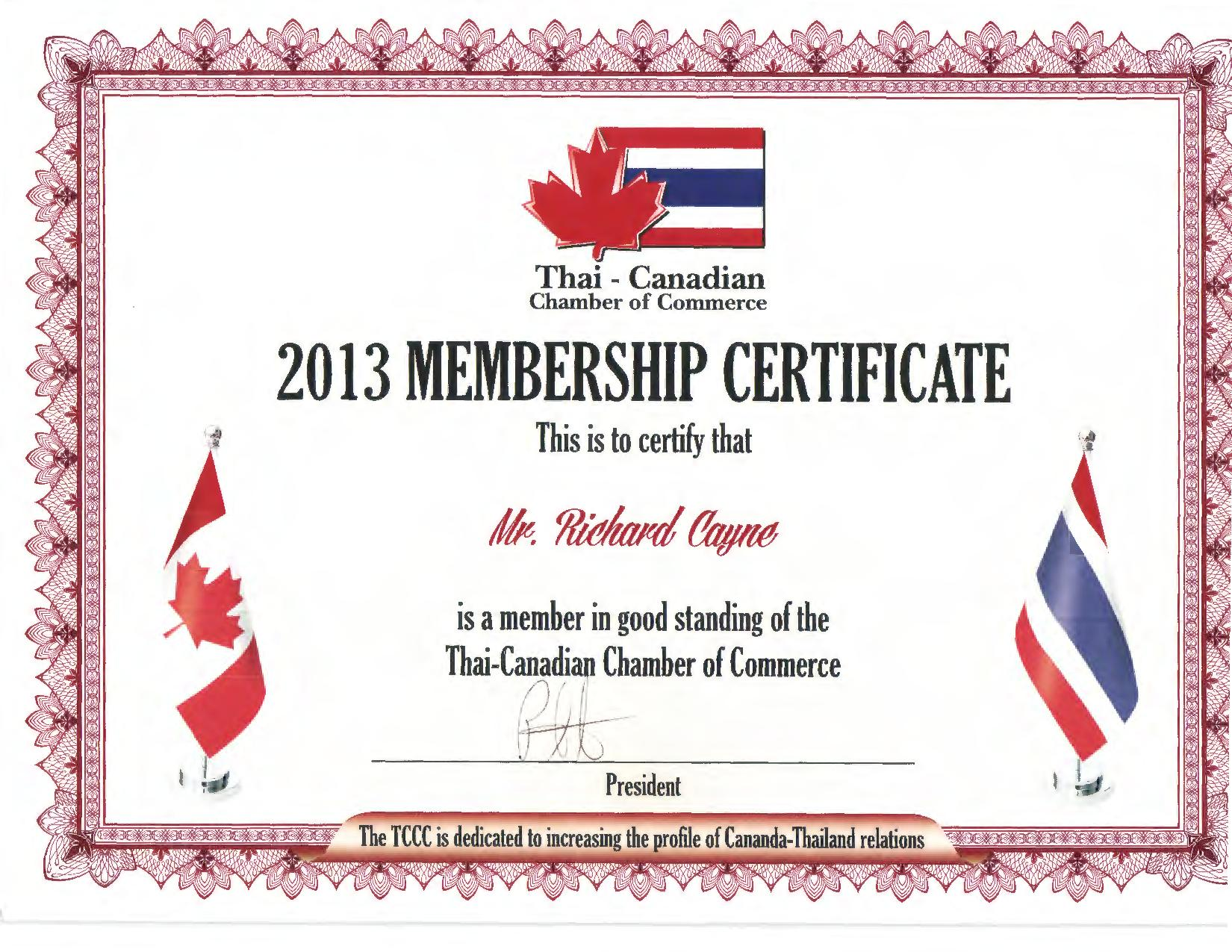 Richard Cayne Canadian Chamber of Commerce Thailand certificate
