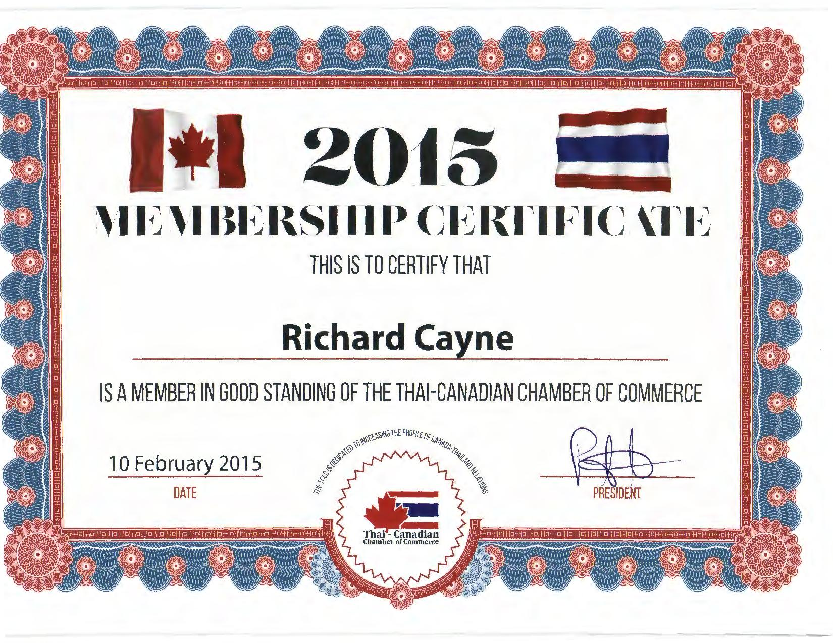 Richard Cayne - Canadian Chamber of Commerce certificate for 2015